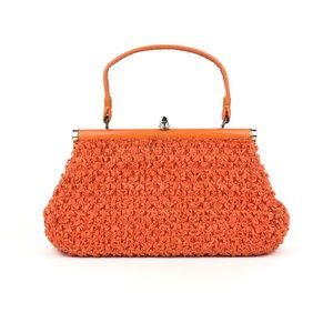 Vintage 70s Tangerine Weaved Purse 🍊